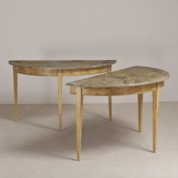 A Pair of Demi Lune Console Tables circa 1830