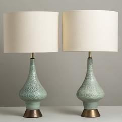 A Pair of Duck Egg Blue Ceramic Table Lamps 1950s