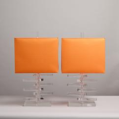 A Pair of Fin Shaped Stacked Lucite Table Lamps 1970s