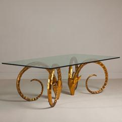 A Pair of Gilt Rams Head Dining Table Bases 1960s