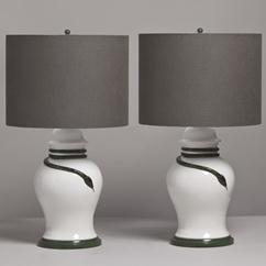 A Pair of Glazed Ceramic Table Lamps with Snake Detail 1970s
