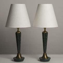 A Pair of Green Cerused Wooden Table Lamps 1960s