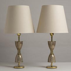 A Pair of Hour Glass Shaped Lamps