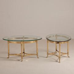 A Pair of Jansen Attributed Brass Oval Side Tables 1960s