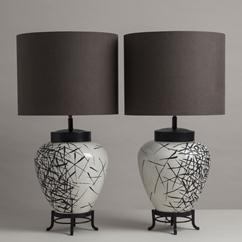 A Pair of Japanese Inspired Glazed Crackleware Table Lamps 1950s
