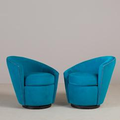 A Pair of Kagan Style Nautilus Shaped Swivel Chairs