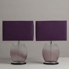 A Pair of Lalique Style Amethyst Toned Glass Table Lamps 1970s