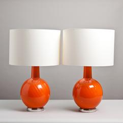 A Pair of Large Orange Glass Lamps on Nickel Bases 1970s