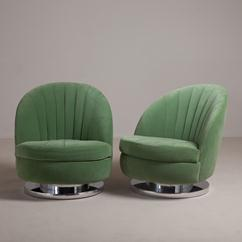 A Pair of Milo Baughman Swivel and Tilting Armchairs late 1970s
