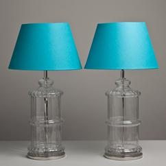 A Pair of Moulded Ribbed Glass Table Lamps 1970s