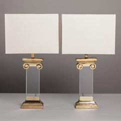 A Pair of Neoclassical Inspired Lucite and Brass Table Lamps 1970s