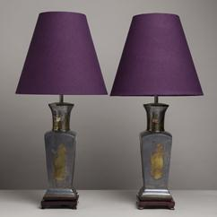 A Pair of Oriental Inspired Pewter and Brass Table Lamps 1960s