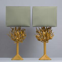 A Pair of Patinated Wrought Iron Table Lamps 1970s