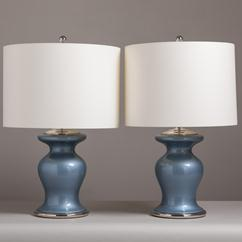 A Pair of Pearlescent Blue Glass Table Lamps 1960s