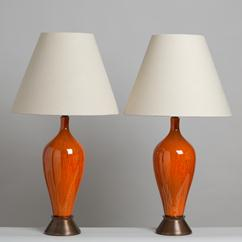 A Pair of Rich Orange Glazed Ceramic Table Lamps 1970s