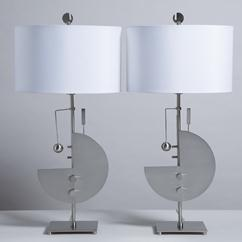 A Pair of Sculpted Steel Memphis Style Table Lamps 1980s