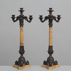 A Pair of Sienna Marble and Bronze Candlesticks circa 1880