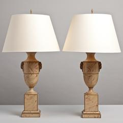 A Pair of Simulated Marble Tole Table Lamps 1960s