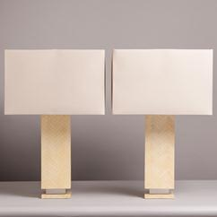 A Pair of Springer Style Tessellated Bone Table Lamps 1970s