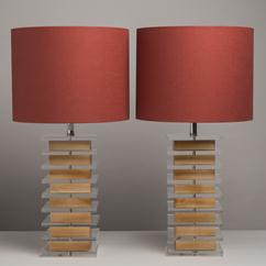 A Pair of Stacked Lucite and Wooden Table Lamps 1960s