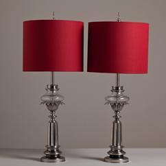 A Pair of Stiffel Nickel and Glass Table Lamps 1950s