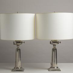 A Pair of Stiffel designed Nickel Column Table Lamps 1960s