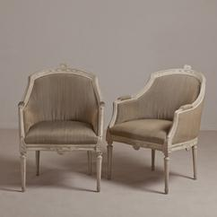 A Pair of Swedish Painted Armchairs circa 1860