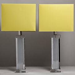 A Pair of Tall Column Chrome and Lucite Table Lamps 1970s