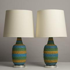 A Pair of Textured Blue and Green Ceramic Table Lamps 1960s