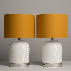 A Pair of Tommaso Barbi style Glazed Ceramic Table Lamps 1970s