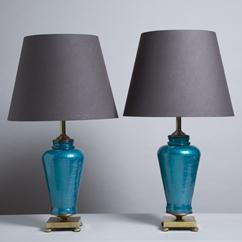 A Pair of Turquoise Glass Table Lamps on Bronze Mounts 1960s