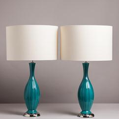 A Pair of Turquoise Ribbed Ceramic Lamps 1960s
