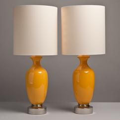 A Pair of Vibrant Yellow Ceramic Table Lamps 1970s