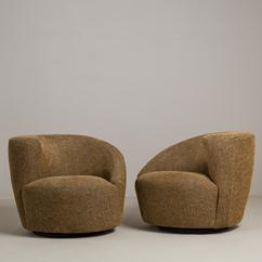A Pair of Vladimir Kagan Swivel Nautilus Chairs 1980s