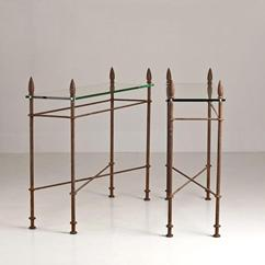 A Pair of  Wrought Iron and Glass Console Tables by Talisman