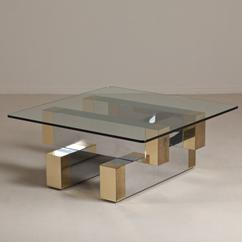 A Paul Evans Style Brass and Chrome Coffee Table 1970s
