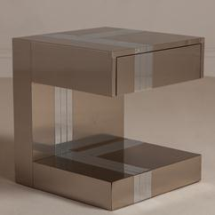 A Paul Evans Style Chrome and Aluminium Side Table 1980s