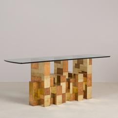 A Paul Evans designed Burr Wood and Brass Dining Table 1970s