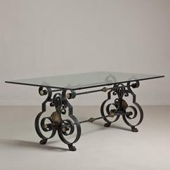 A Poillerat Inspired Wrought Iron and Bronze Table Base