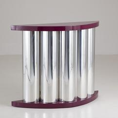 A Purple Lacquer and Aluminium Console Table 1980s