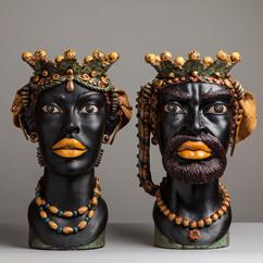 A Rare Pair of French Fiance Caspo Glazed Terracotta Sculptures