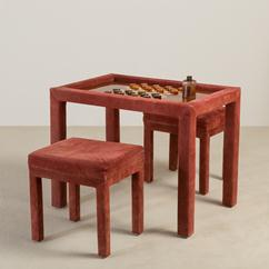 A Red Suede Wrapped Games Table and Stools 1980s