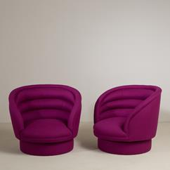 A Sensational Pair of Magenta Wool Swivel Armchairs 1970s