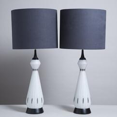 A Sensational Pair of  Opaque Blown Glass Table Lamps 1950s