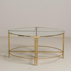 A Set of Four Maison Jansen Style Brass Side Tables circa 1970