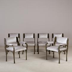 A Set of Six Bronzed Resin Chairs by Paul Evans late 1960s