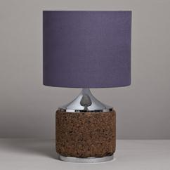 A Single Cork and Chrome Table Lamp 1970s