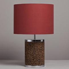 A Single Cylindrical Cork and Chrome Lamp 1970s