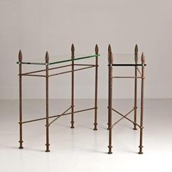 A Single Wrought Iron and Glass Console Table by Talisman