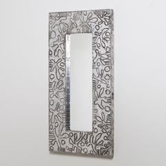 A Small Embossed Aluminium Wrapped Mirror by Arenson 1980s